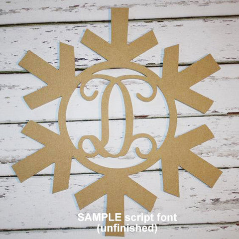 Snowflake Initial Wall Hanging Unfinished
