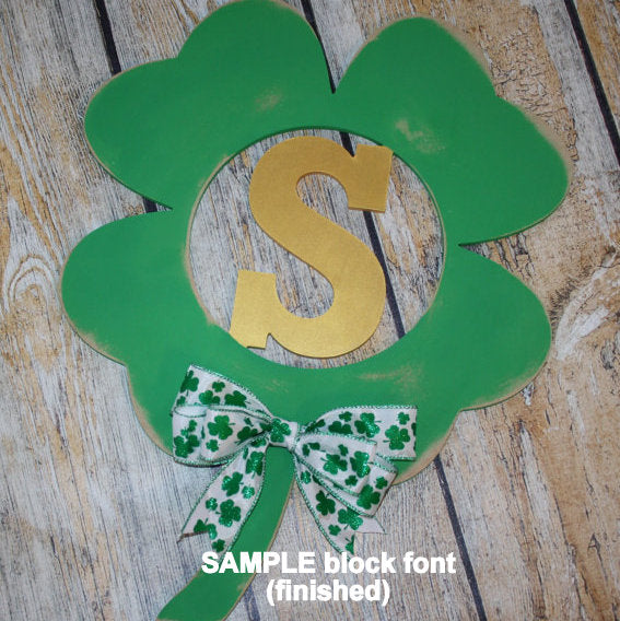 Wood Shamrock with Initial (finished)