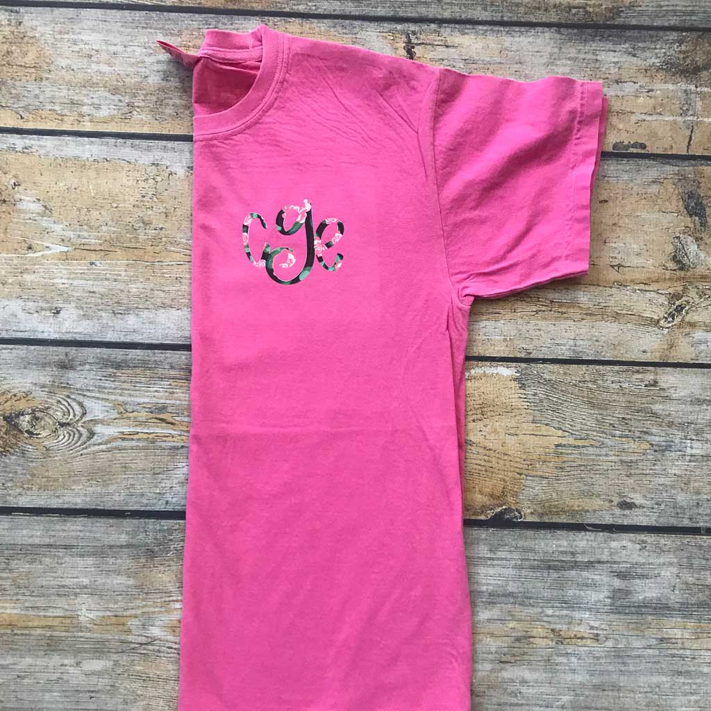 Youth Monogram Tee in Crunchberry