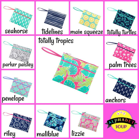 Embroidered Zip Pouch Wristlet Collection