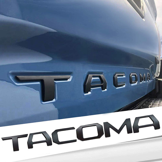 3D Raised Tailgate Metal Letters for Toyota Tacoma -Matte Black