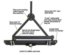 Load image into Gallery viewer, SRC Rear Bumper w/ 2 Inch Hitch Receiver 07-15 Wrangler JK Black Smittybilt - 76612
