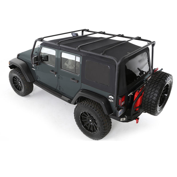 SRC Roof Rack 07-18 Wrangler JK 4 DR 300 Lb Rating Black Textured Smittybilt - 76717