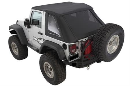 Bowless Soft Top Combo 07-18 Wrangler JK 2 DR OEM Replacement W/Tinted Windows Black Diamond Smittybilt - 9073235