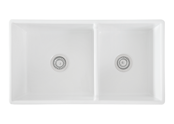Double Fluted 2/3 1/3  Offset Apron Sink - 830 x 475 x 250mm