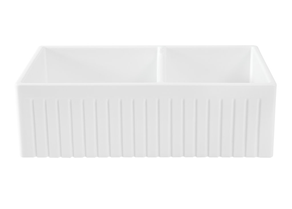 Double Fluted 2/3 1/3  Offset Apron Sink - 838 x 460 x 257mm
