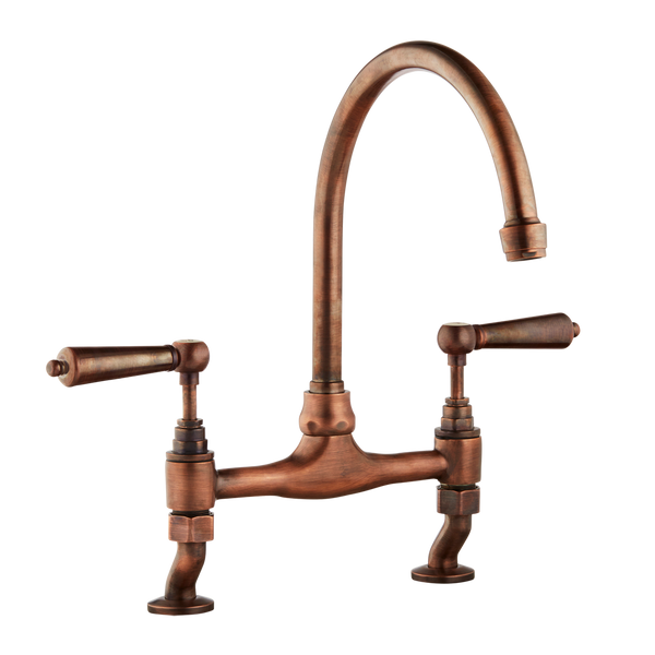 Traditional Kitchen Bridge Mixer Tap - Metal Levers