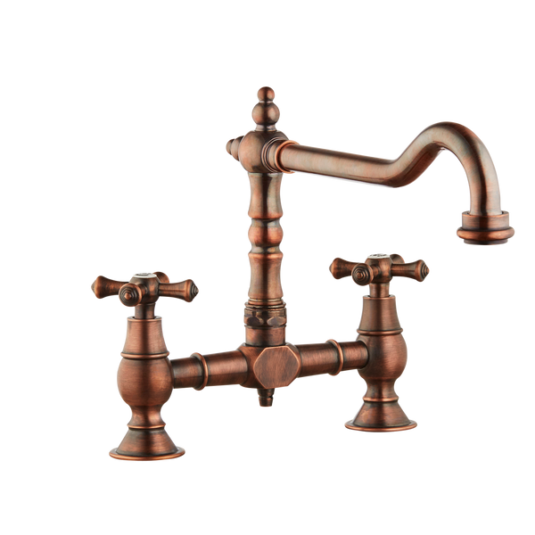 Brunel - Old English Bridge Kitchen Sink Mixer - Cross Handles