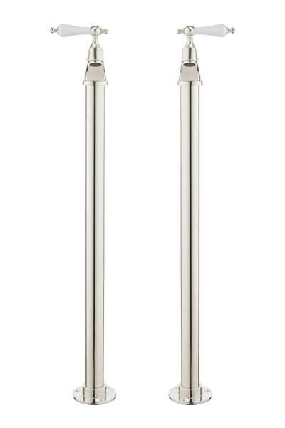 Vintage Bath Pillar Taps On Pipe Stands - Porcelain Lever