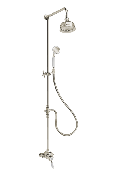 Heritage Exposed Shower System Arm Rose Diverter & Handshower - Porcelain Lever