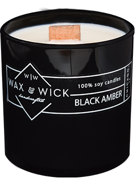 black amber soy candle with wood wick