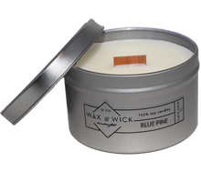 small blue pine soy candle