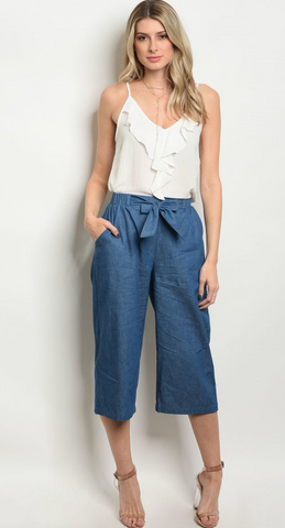 Blue Denim Capri Pants