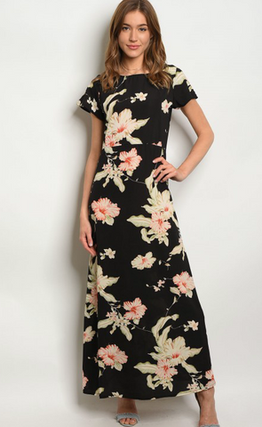 BLACK FLOWER PRINT DRESS