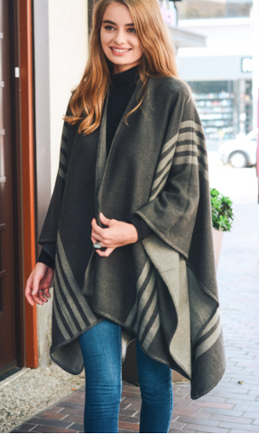 Gray Reversible Poncho