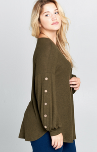 Olive Button Down Top