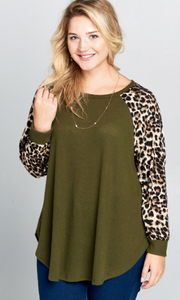 Olive Cheetah Top