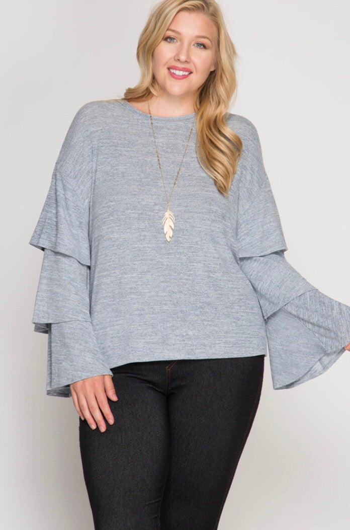 PLUS MISTY BLUE TRIPLE BELL SLEEVE TOP