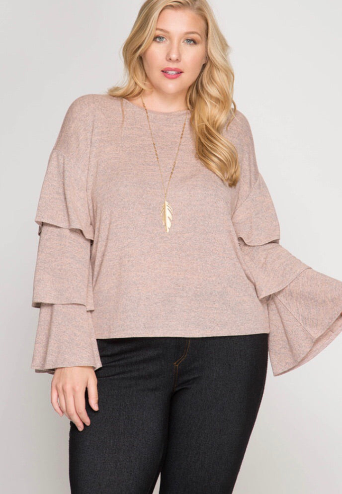 PLUS ROSE GRAY TRIPLE BELL SLEEVE TOP