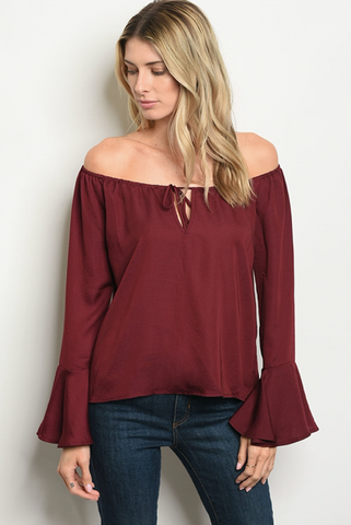 Macaroon Off the Shoulder Top
