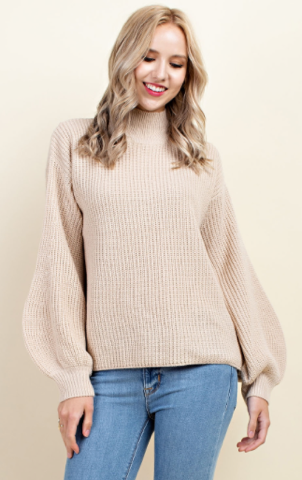 Tan Bell Sleeve Sweater