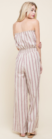 Tan Striped Jumpsuit