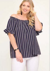 Navy Striped Off the Shoulder Top