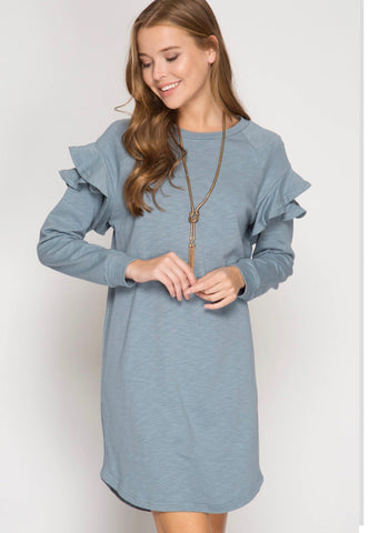 MISTY BLUE FRENCH TERRY DRESS