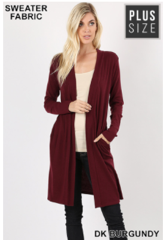 Plus Burgundy/Gray Cardigan