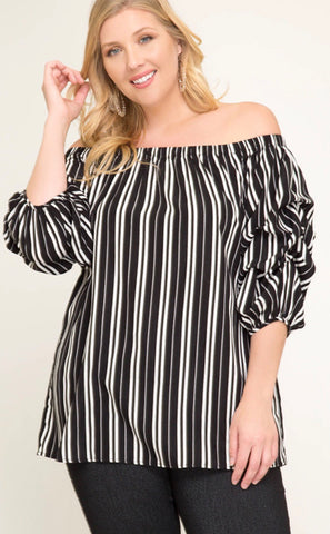 Black & White Striped Plus Top