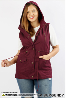 Burgundy Button Down Vest