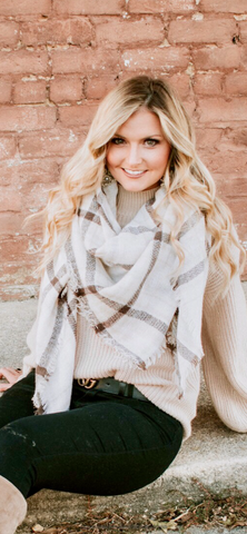 Plaid Light Brown Scarf with a hint of Pink