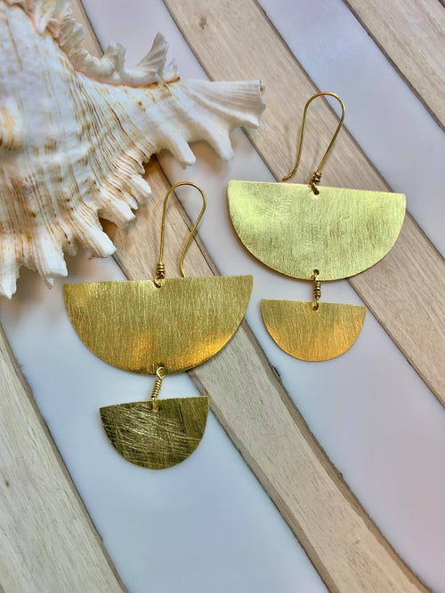 MELANIE WOODS EURO GOLD FAN DROP EARRINGS