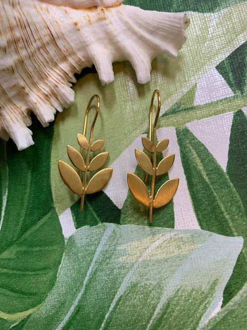 MELANIE WOODS EURO GOLD LEAF DROP EARRINGS