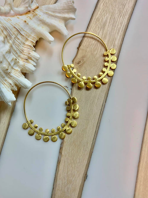 MELANIE WOODS EURO GOLD FERN HOOP EARRINGS