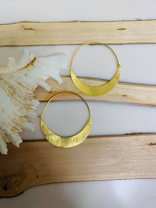 MELANIE WOODS EURO GOLD SLIM HOOP EARRINGS SMALL