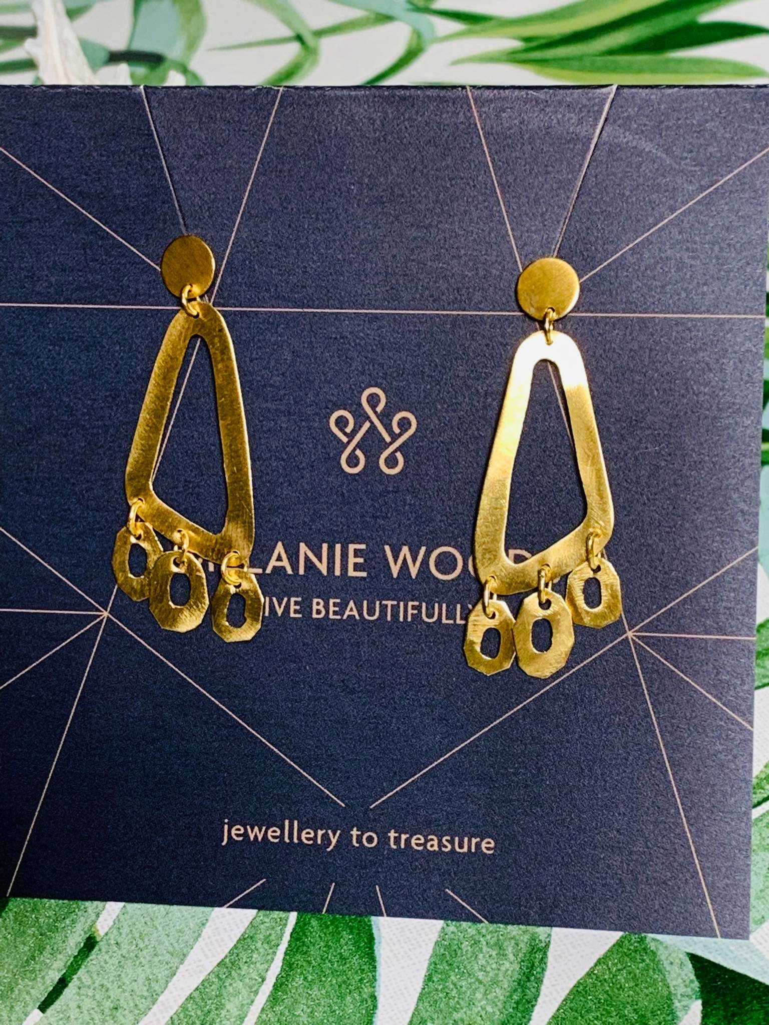 MELANIE WOODS EURO GOLD TRIANGLE  EARRINGS