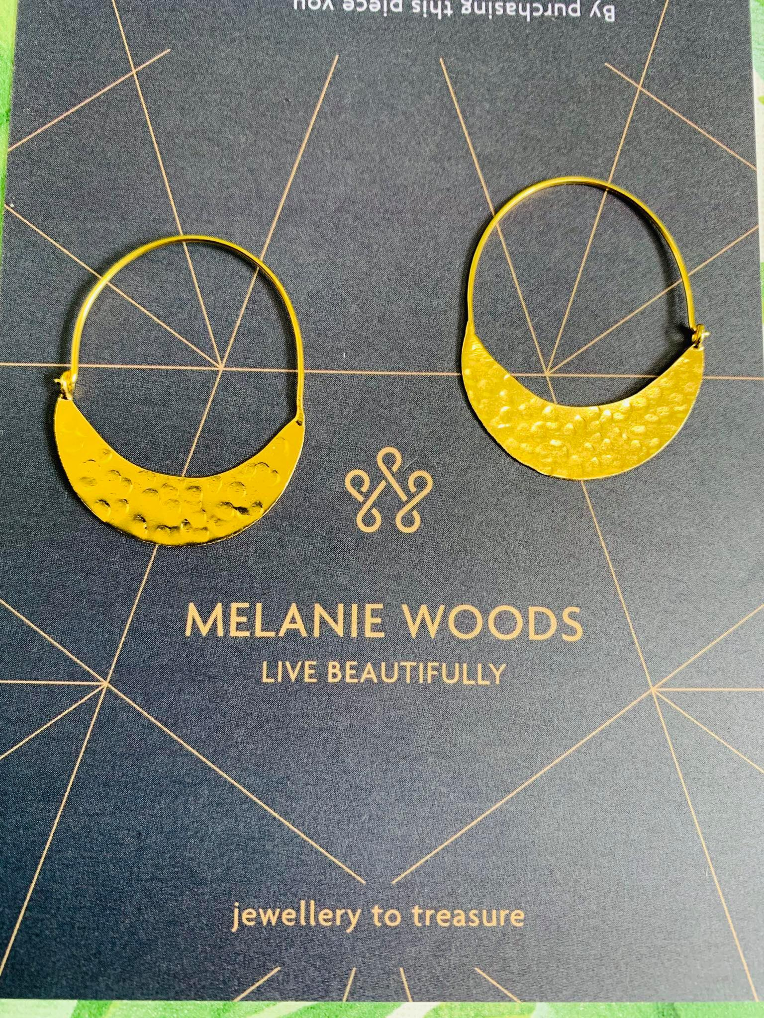 MELANIE WOODS EURO GOLD LOW LOOP HOOP EARRINGS