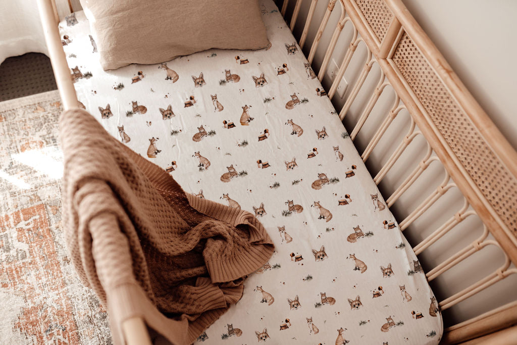 SNUGGLE HUNNY FOX FITTED COT SHEET