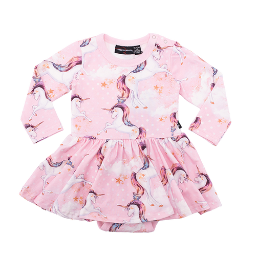 ROCK YOUR BABY STARGAZER LS WAISTED DRESS