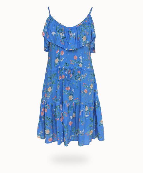 WANDERLUST RUFFLE MIDI DRESS PERIWINKLE DUST