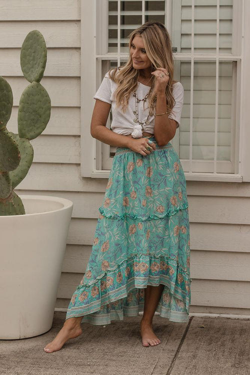 WANDERLUST SUMMER ROMANCE SKIRT - BLUE