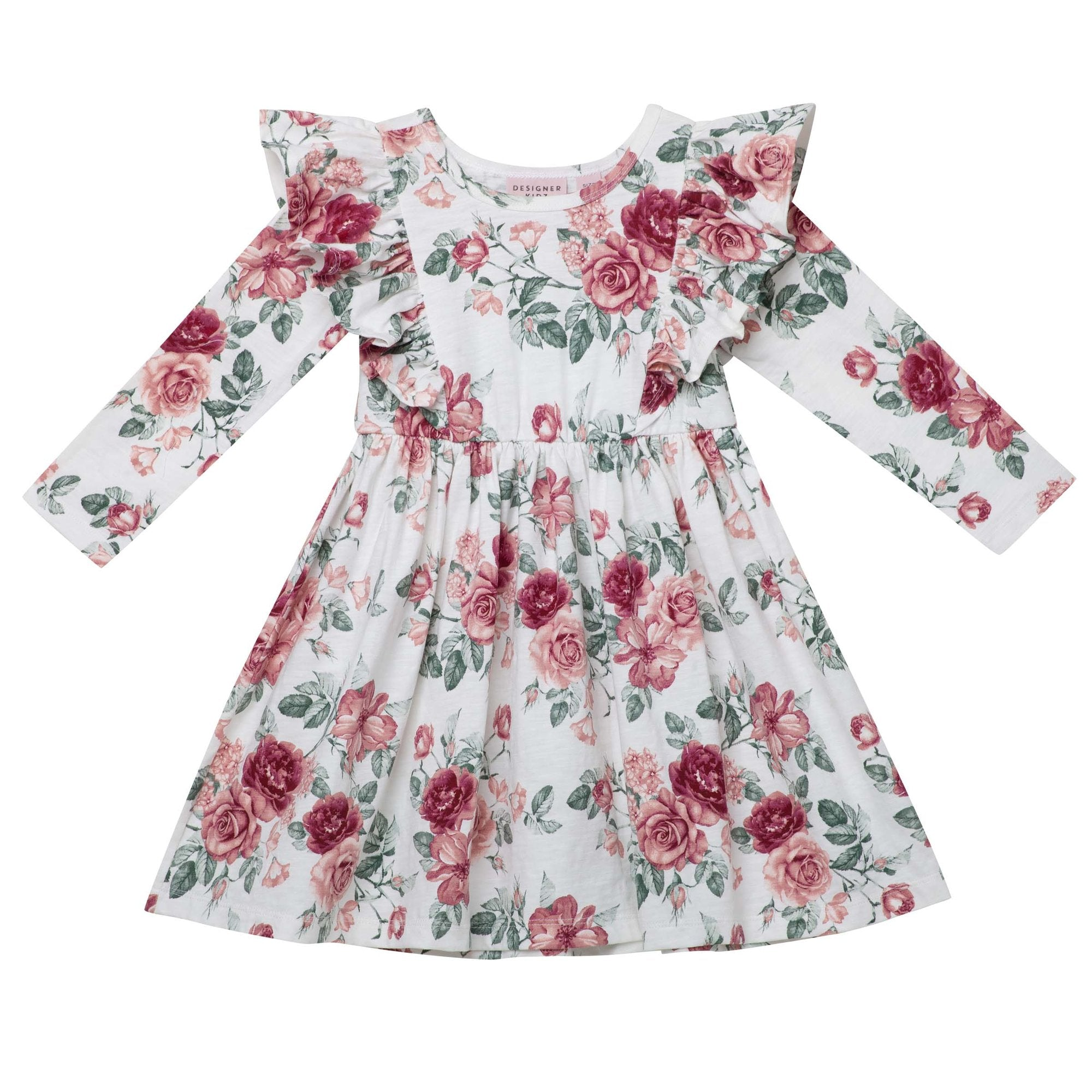 Designer Kidz Audrey floral L/S hazel dress - Tea Rose