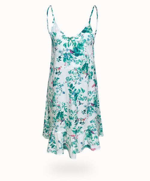WANDERLUST NIGHTIE - HUMMINGBIRD PRINT WHITE