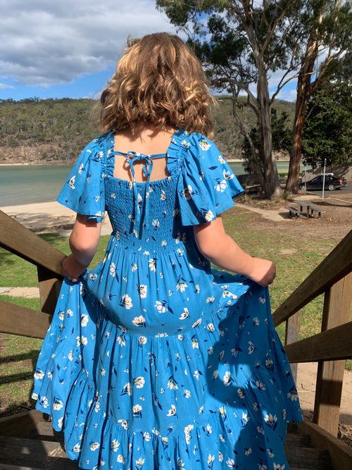 DREAMCATCHER WILLA DRESS - DANDELION BLUE PRINT
