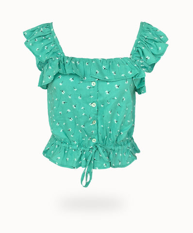 WANDERLUST CUTE AS A BUTTON CAMI TOP (BUTTERCUP PRINT)