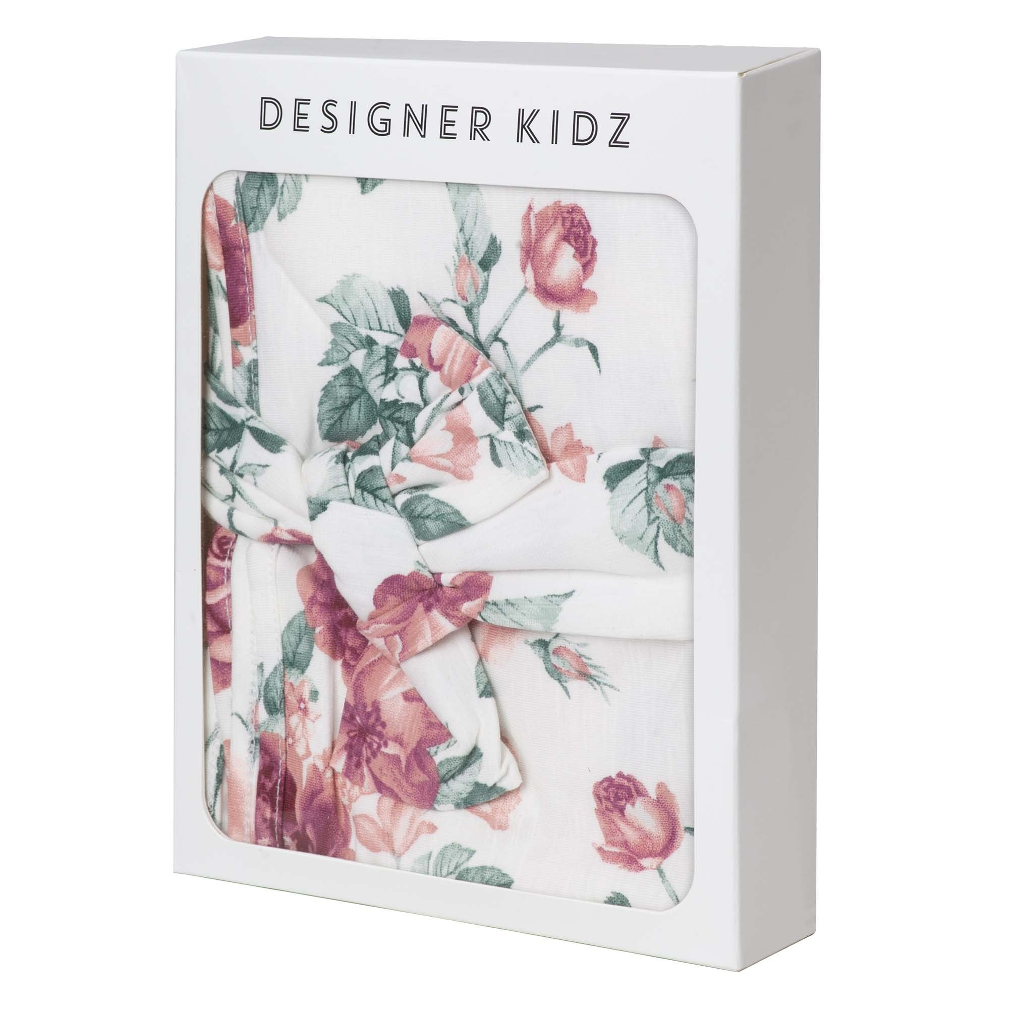 Designer Kidz Audrey floral swaddle & Headband set - Tea Rose
