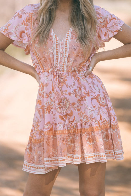 WANDERLUST FEELING PEACHY MINI DRESS
