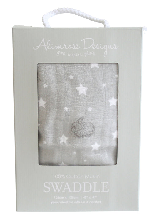 ALIMROSE STARS AND BUNNIES GREY