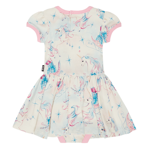 ROCK YOUR BABY UNICORN CHRISTMAS BABY WAISTED DRESS